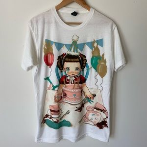 Y2K Angry Birthday Girl Graphic T Shirt.. 3D look